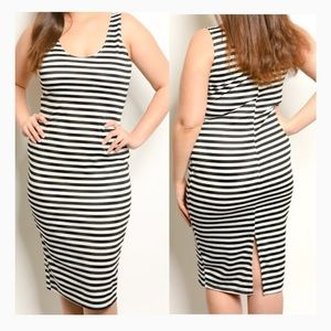 Dresses & Skirts - Plus Size Striped Bodycon Dress